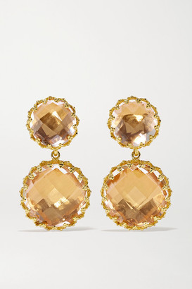Larkspur & Hawk Olivia 18-karat Gold-dipped Quartz Earrings