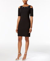 Jessica Howard Petite Embellished Cold-Shoulder Dress