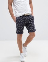 Bellfield Chino Shorts In Gull Print With Belt