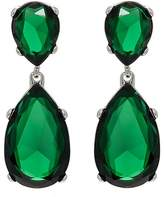 Kenneth Jay Lane WOMEN'S GREEN CRYSTAL DOUBLE-DROP EARRINGS