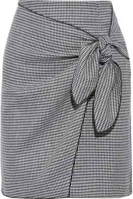 Iris & Ink Cindy Tie-front Checked Wool-blend Mini Skirt