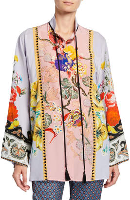 Etro Placed Rose Floral Tie-Neck Tunic