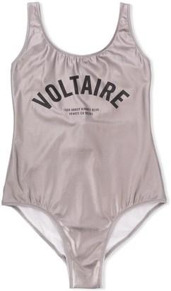 Zadig & Voltaire Kids TEEN metallic logo swimsuit