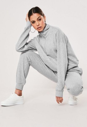 Missguided Gray Zip Through Sweater And Jogger Co Ord Set