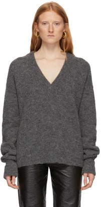 Tibi Grey Alpaca Airy V-Neck Sweater