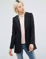 Helene Berman Longline Blazer in Black and White Window Check