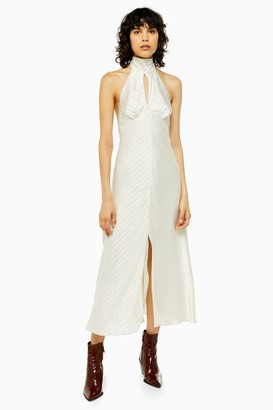 Topshop Womens Idol Burnout Satin Halter Neck Dress - Ivory