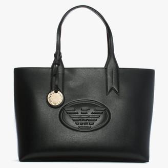 Emporio Armani Black Textured Logo Shopper Bag