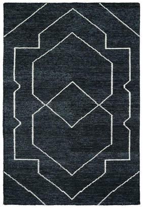 Kaleen Hand Woven Solitaire Charcoal Bamboo Silk Rug, 4'x6'