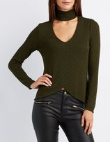 Charlotte Russe Cut-Out Mock Neck Tulip Top