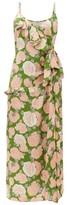 Miu Miu Ruffled Floral-print Silk-jacquard Dress - Womens - Green Multi