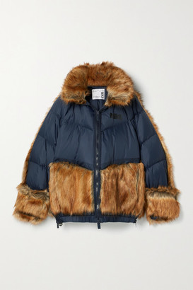 Nike + Sacai Nrg Oversized Hooded Faux Fur And Quilted Shell Down Jacket - Navy