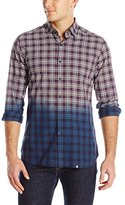 Stone Rose Men's Dip-Dyed Plaid Long-Sleeve Shirt