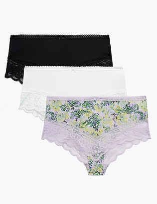 Marks and Spencer 3 Pack Lace Trim Brazilian Knickers