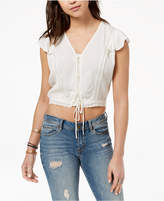 American Rag Juniors' Cropped Lace-Up Top, Created for Macy's