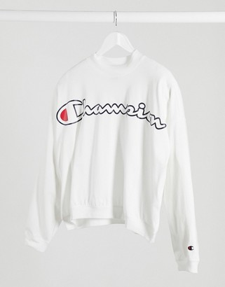 Champion cropped boxy sweatshirt in white