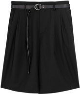 Solid Homme Black Pleated Wool Blend Shorts