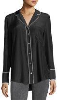 Frame Button-Front Silk Pajama Blouse