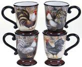 Certified International Vintage Rooster 4-pc. Coffee Mug Set