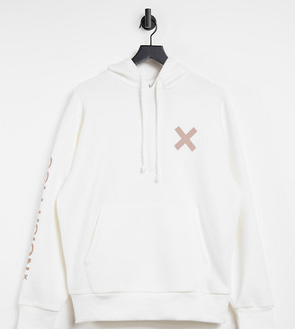 Collusion Unisex logo hoodie in off white