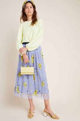 Anthropologie x Delpozo Embellished Tulle Skirt By x Delpozo in Blue Size M