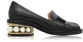 Nicholas Kirkwood Casati Black Leather Pearl Moccasin