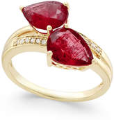 Macy's Ruby (4 ct. t.w.) and Diamond Accent Statement Ring in 14k Gold