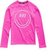 Nike Logo-Graphic Rash Guard Swim Top, Little & Big Girls