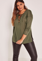 Missguided Khaki Plus Size Lace Up Side Split Top