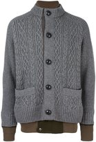 Sacai layered effect cardigan - men - Cotton/Polyester/Wool - 3