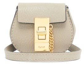 Chloé Drew Mini Grained-leather Belt Bag - Grey