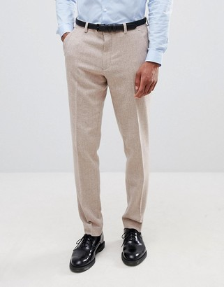 ASOS DESIGN wedding skinny suit pants in dusky pink herringbone