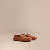 Burberry Leather Loafers With Engraved Check Detail , Size: 43.5, Brown