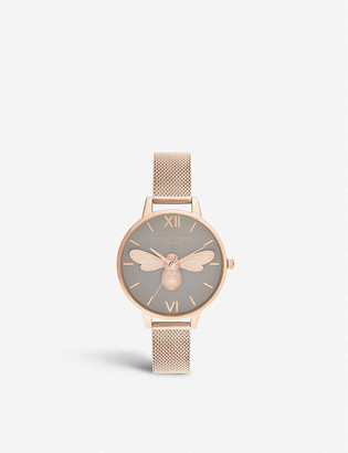 Olivia Burton OB16FB10 Lucky Bee rose-gold-plated stainless-steel watch