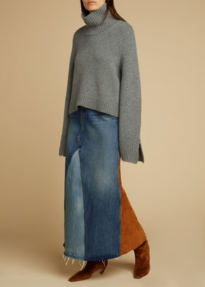 KHAITE The Magdalena Skirt in Cocoa Suede Combo