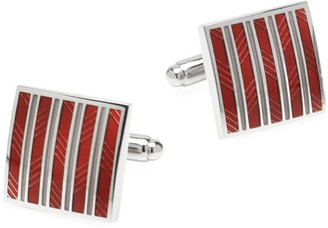 Cufflinks Inc. Ox & Bull Trading Co, Red and Gray Striped Square Cufflinks