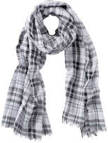 Joe Fresh Women's Metallic Plaid Scarf, White (Size O/S)