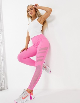 Lorna Jane high waisted mesh panel leggings in pink