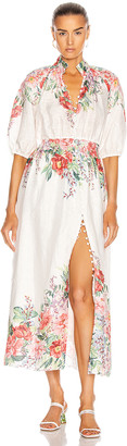 Zimmermann Bellitude Shirred Waist Dress in Ivory Floral | FWRD