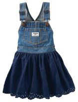 Osh Kosh Denim and Eyelet Skortall in Navy