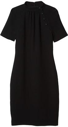 Badgley Mischka Asymmetrical Button Neck Pebble Crepe Dress (Black) Women's Clothing