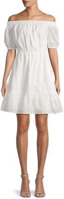 MICHAEL Michael Kors Floral Eyelet Off-The-Shoulder Dress