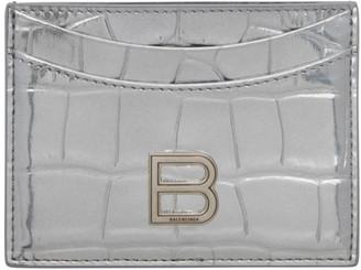 Balenciaga Silver Croc Hourglass Card Holder