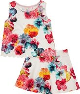 River Island Mini girls pink print top and skirt outfit