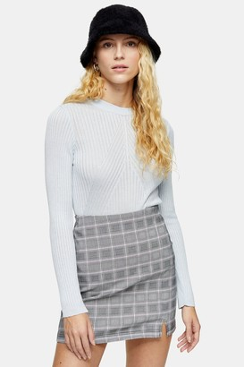 Topshop Womens Chevron Knitted Top - Pale Blue