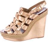 Christian Louboutin Metallic Espadrille Wedge Sandals