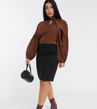Only Curve faux suede skirt in black