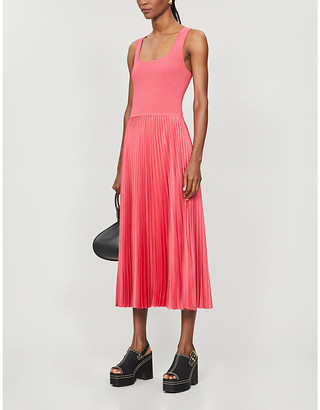 Theory Pleated stretch-woven midi dress