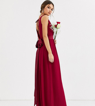 TFNC Bridesmaid maxi dress with bow back in mulberry