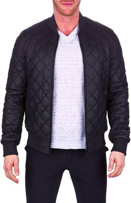 Maceoo Quilted Stud Detail Leather Jacket